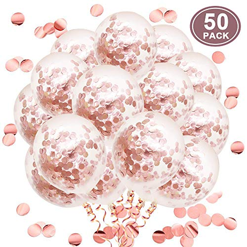 Bulk Latex Balloons - Rose Gold Confetti Latex Balloons, 50pcs