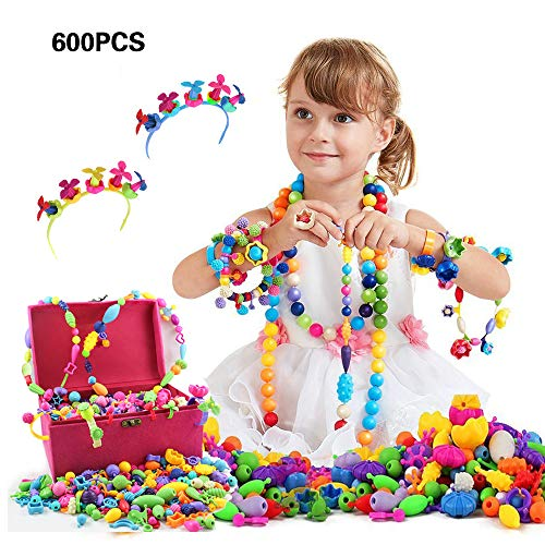 Pop Beads, Gifts for Kids 4, 5, 6, 7 Year Old Girls, Pop Beads Jewelry Making Kit for Girls, Arts and Crafts Gifts for Kids (600+PCS Pop Beads in Gifts Box) (Games Like Plants Vs Zombies For Pc)