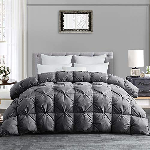 HOMBYS Luxurious All-Season Down Comforter King Size Duvet Insert Feather Hypo-allergenic Grey Pinch Pleat 100% Cotton Cover Down Proof with Corner Tabs Premium Baffle Box Design-Gray Down Comforter (Comforter King Grey)