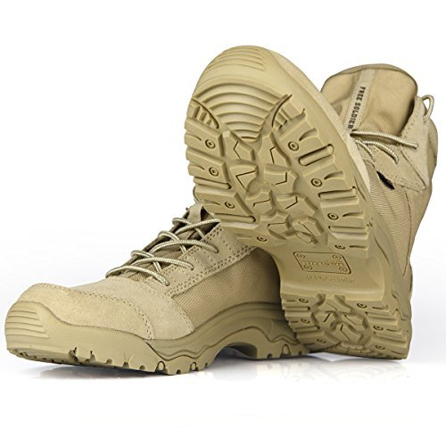FREE SOLDIER Men's Outdoor Lightweight Desert Tactical Boots Durable Breathable Backpacking Boots