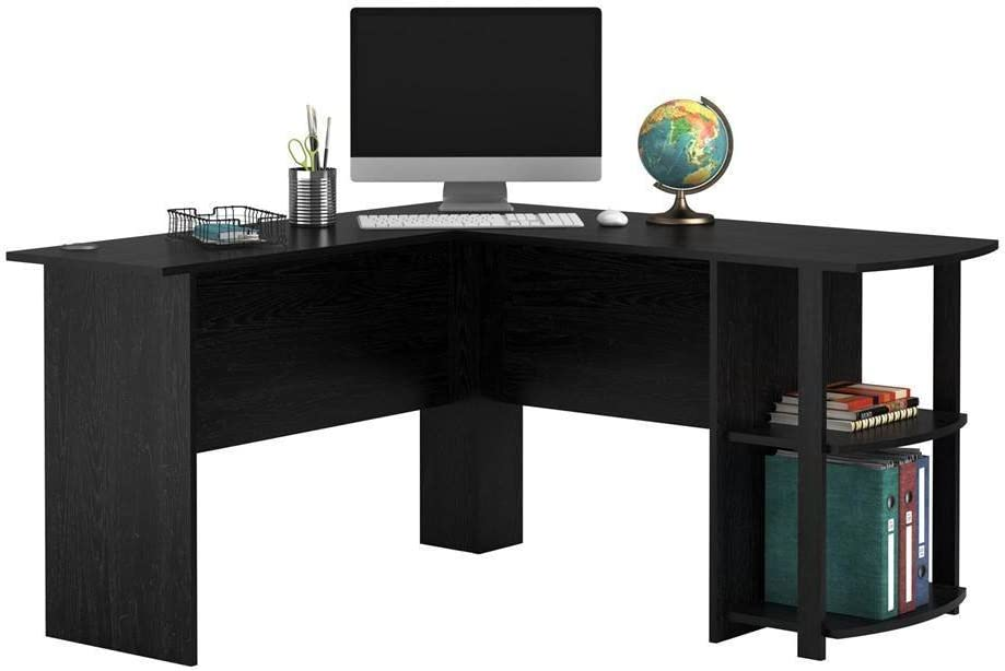 """L-Shaped Wood Computer Desk - Large Size Computer Corner Workstation Table, 52"""" Large Corner Modern Home Study Writing Table with Two-Layer Bookshelves for Home or Office (Black)"""