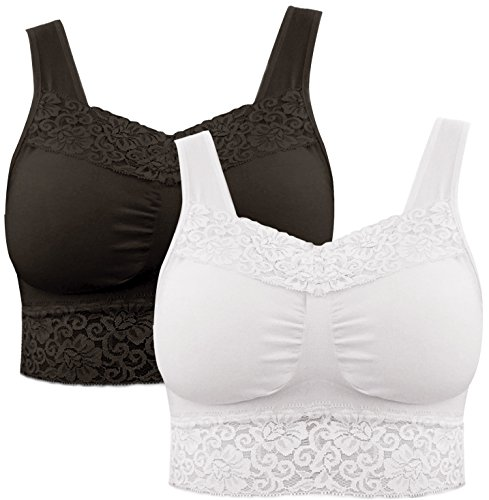 Pretty Seamless 2-Pack Lace Camisole Women's Seamless Wireless Comfort Layering Bra with Removable Pads