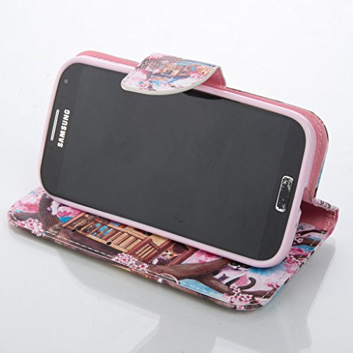 PowerQ Bunte Muster Reihe PU Artificia-Leder Tasche Holster Hülle Etui Fall Case Cover < Plum cat | für IPhone 5S 5 5G SE IPhone5S IPhoneSE >            mit schönen hübschen Muster Druck Detailzeichnung Geldbörs