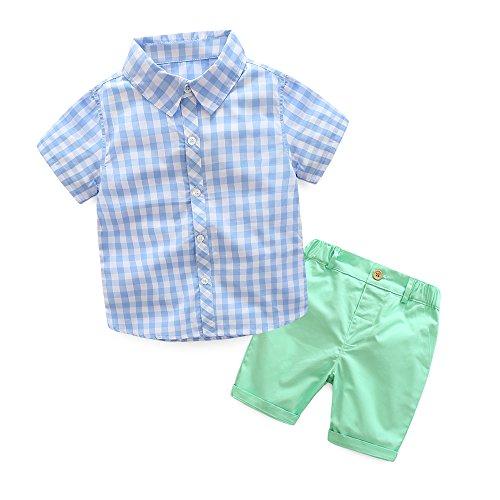 Baby Boys Short Sets Short Sleeve Plaid Shirts Tops Shorts Pants Summer Outfits ()