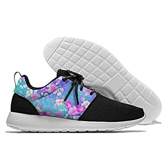 Pink Blue Flowers Men's Mesh Running Shoes Sneakers Breathable Athletic Workout Fitness Sports Shoes Trainers 40