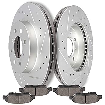 Fits 2009-2012 Honda Fits Front Black Drill Slot Brake Rotors+Ceramic Pads