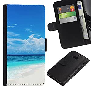 UNIQCASE - HTC One M8 - Caribbean White Sand Paradise Beach - Cuero PU Delgado caso cubierta Shell Armor Funda Case Cover