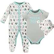 Luvable Friends Baby Sleeper, Bodysuit and Bandana Bib Set, Elephants, 0-3 Months