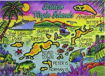 British Virgin Islands Tortola Map Caribbean Fridge Collector's Souvenir Magnet 2.5