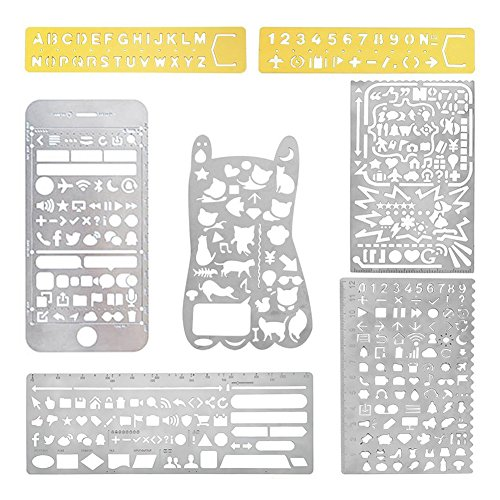 Petift 7pcs Hollow Stainless Steel Journal Stencils/Scale Templates Ruler with Web UI/iOS/Number Alphabet/Vintage Brass Alphabet & Number Template for Drawing Painting Scrapbooking Craft and so on