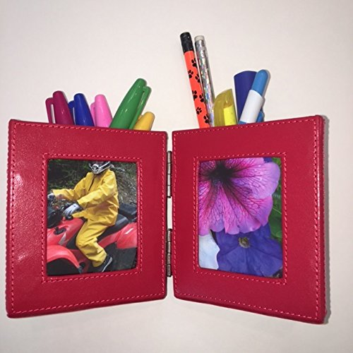 Red round pencil holder that opens with two picture frames