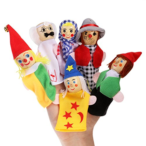 NUOLUX 6pcs Finger Puppet Set Children's Play Learn Story Soft Puppets Plush Toy ()