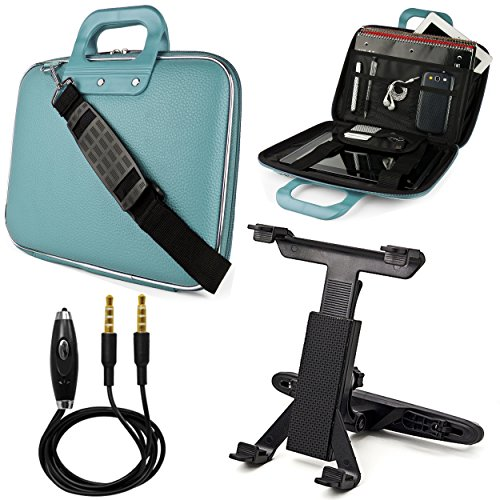 W/ 3 Removable Headrests (Baby Blue SumacLife Cady Bag Textured Hard Case w/ Removable Shoulders Strap for Samsung Galaxy Tab 3 10.1 (Wi-Fi) Android Tablet (GT-P5210) + Headrest Tablet Mount Holder with Adjustable Grip)