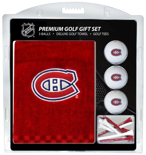 NHL Montreal Canadiens Embroidered Golf Towel, 3 Golf Ball, and Golf Tee (Towel Ball Tee)