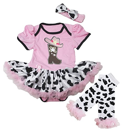 Petitebella Cowgirl Boot and Hat Pink Bodysuit Cow Baby Dress Leg Warmer Nb-18m (6-12 Months) ()