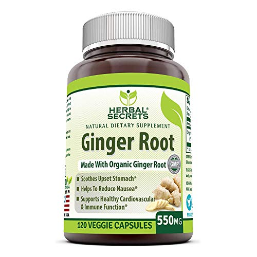 Herbal Secrets Ginger Root Supplement – 550 mg Capsules – Easy to Swallow Capsule (120 Veggie Capsules)