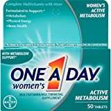 One A Day Women's Active Metabolism Multivitamin, Supplement with Vitamins A, C, E, B2, B6, B12, Iron, Calcium and Vitamin D, 50 count