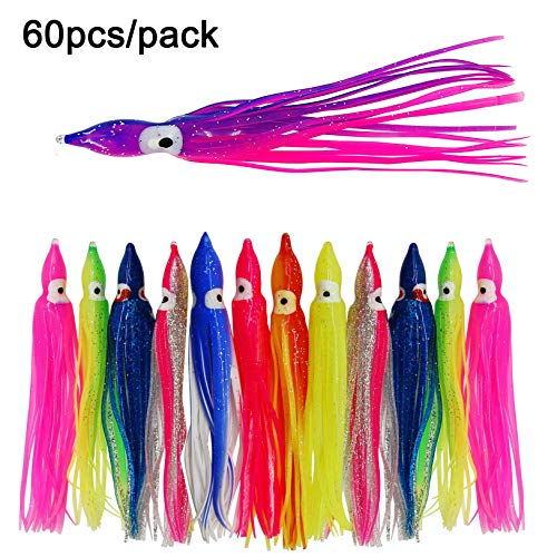(SILANON Octopus Squid Fishing Skirts Lures- 60pcs Trolling Lure Saltwater Soft Plastic Bait Hoochie Squid Multicolor 4.7inch)