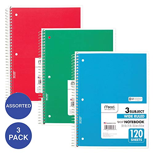 Mead Spiral Notebooks 3 Subject Wide Ruled Paper 120 Sheets 10 1 2 X 7 1 2 Red Green Blue 3 Pack 73179