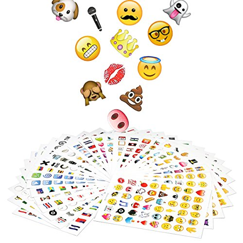 Funny Emoji Stickers 28 Sheets 1344 Emojis Faces Stickers Kids and Adults Love Perfect for Journal Plan Kids' Party and Education - Face Sunglasses Smiling With