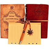 Classic Leather Writing Journal (Naval Compass Embossing) - Vintage Cover & Refillable Design- Includes Extra Paper (Lined) & Bamboo Pen