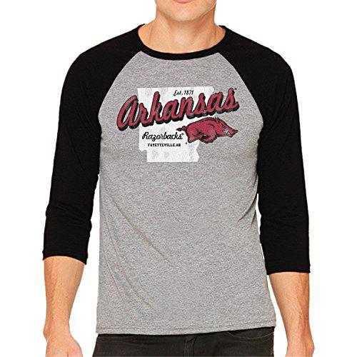 NCAA Arkansas Razorbacks Men's 3/4 Baseball Tee, Large, Heather/Black