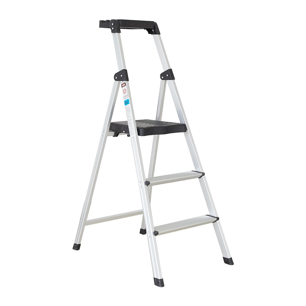 Dporticus Folding Portable 3 Steps Anti-Slip Step Ladder 330Lbs Load Capacity with Tool Tray