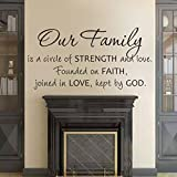 Family Wall Decal Christian Wall Quote Religious Sticker Vinyl Home Art Decoration - Our Family is a Circle of Strength and Love Dark Brown