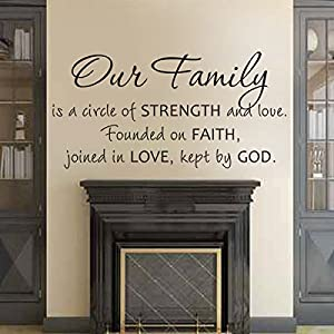Family Wall Decal Christian Wall Quote Religious Sticker Vinyl Home Art  Decoration   Our Family Is A Circle Of Strength And Love Dark Brown