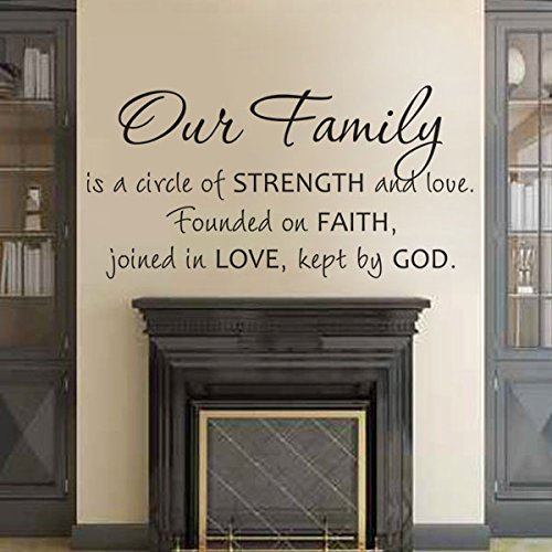 Our Family is a Circle of Strength and Love Religious Wall Sticker Vinyl Family Wall Decal Quotes Home Wall Art Black