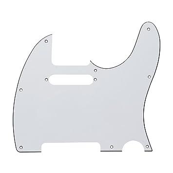 Musiclily - Golpeador de 3 capas para guitarra tipo telecaster, blanco