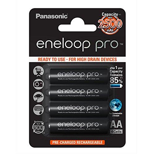 Panasonic Eneloop pro AA Ready-to-Use Mignon NI-MH Akku (2500 mAh, 4er Pack) mit extrastarker Leistung