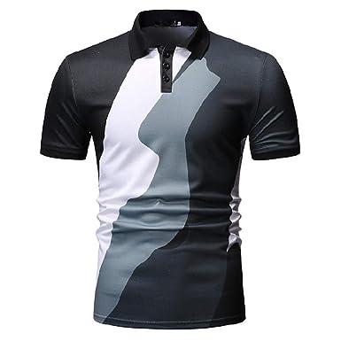 YFLTP Polo para Hombre - Camisa Color Block con Cuello Azul XL ...