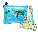 birdyboutique.com I Love Dinosaurs Species Learn Names Chart Educational Blanket Reversible World Map Identification Learning for Kids Large 50x60 Gift