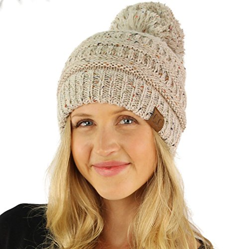 CC Confetti Ombre Big Pom Pom Warm Chunky Soft Stretch Knit Beanie Hat Oatmeal