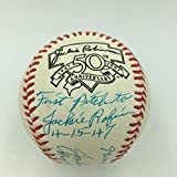 Rare Johnny Sain First Pitch To Jackie Robinson & Babe Ruth Signed Baseball - PSA/DNA Certified - Autographed Baseballs