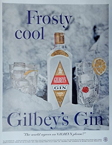 Gilbey's Gin, 50's Vintage Print Ad. Color Illustration, Original Rare 1958 Life Magazine ()