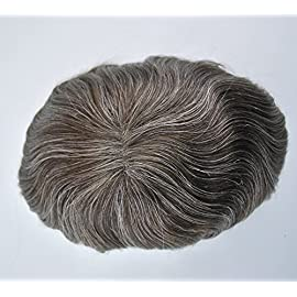 Dark Brown Mixed Grey 310 Hair Toupee for Men Human Hair Replacement in Stock