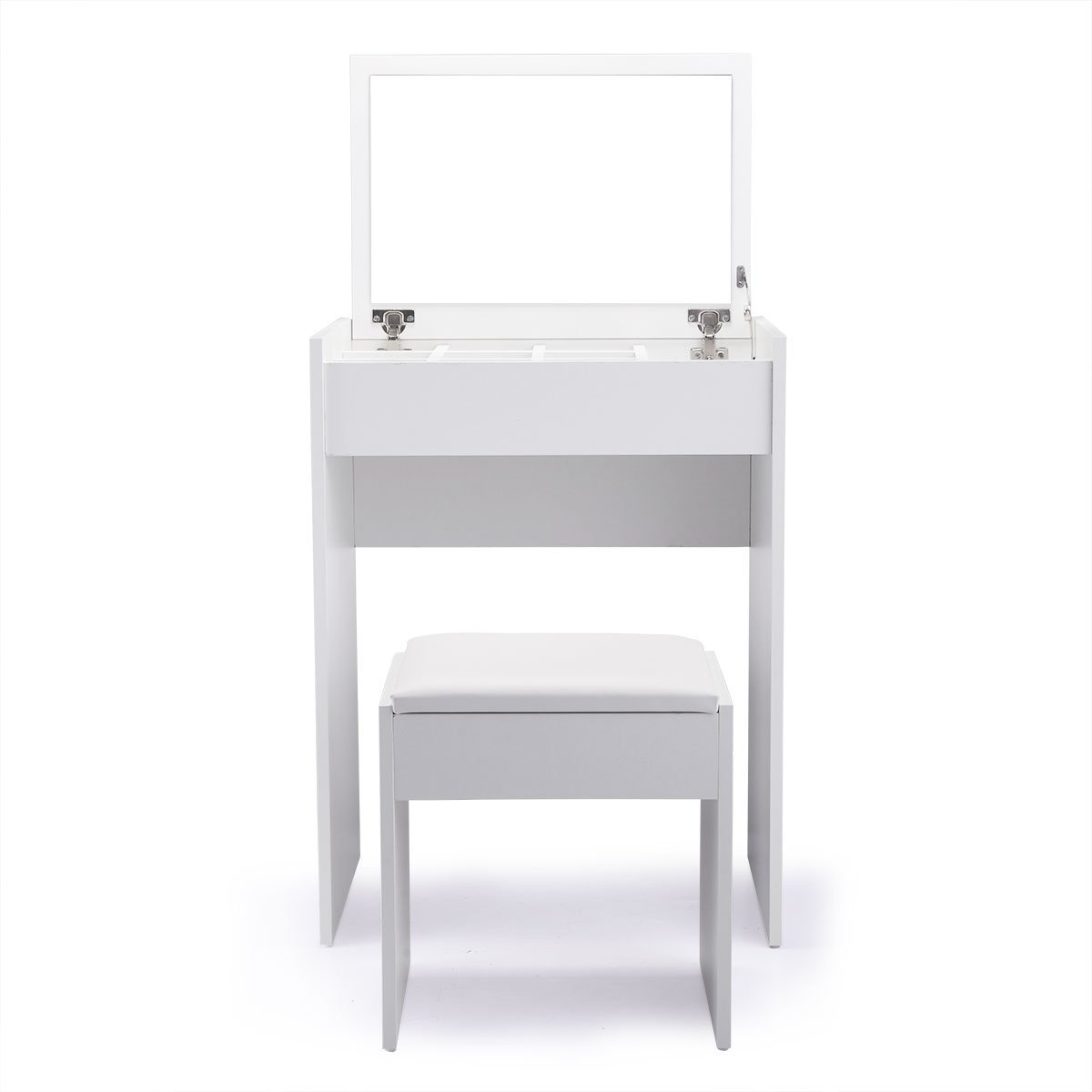 JAXPETY Vanity Makeup Table Set with Flip Top Mirror Cushioned Stool Makeup Dressing Table with Organizers White