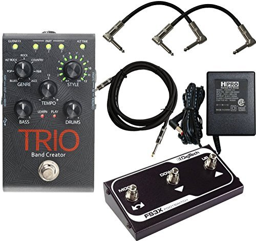 Digitech TRIO Electric Guitar Multi Effect, Band Creator Pedal Plus Free FS3X Pedal and 3 Three Cables - Authorized Dealer Ships from USA