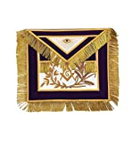 Masonic MASTER MASON Gold/Silver Handmade Embroidery Apron Purple (Gold Embroidery)