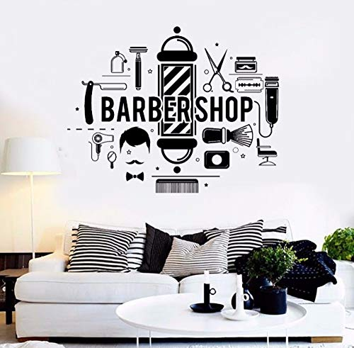 (Hddtwc Barbershop Hair Salon Wall Decal Barbershop Style Various Tools Vinyl Wall Mural Modern Design Wall Decor 72X57Cm)