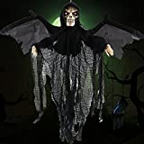 halloween electronic props - Halloween Hanging Decorations Skull Prop Death Electronic Glowing Eyes Shake Wing Creepy Voice Bat Hanging Ornament Black