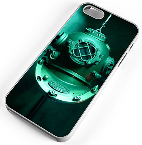 iPhone 7 Plus 7+ Case Scuba Diving Helmet Underwater Mask Customizable by TYD Designs in White Rubber -
