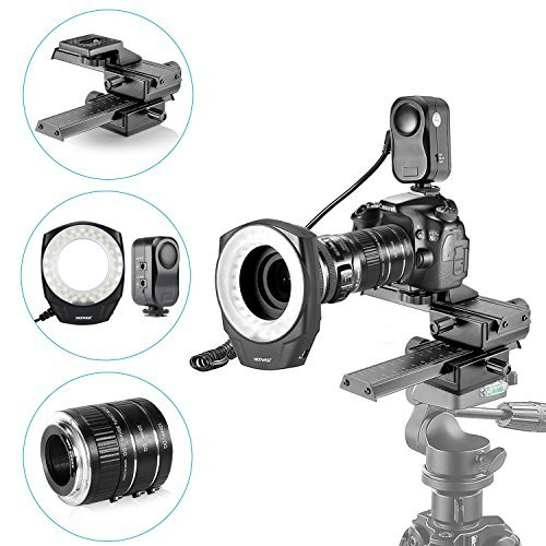 (Neewer Macro Auto Focus Extension Tubes Set,48 Marco LED Ring Light with 6 Adapter Rings and 4 Way Macro Focusing Rail Slider for Canon DSLR Camera Close-up Macro Photography Shooting)