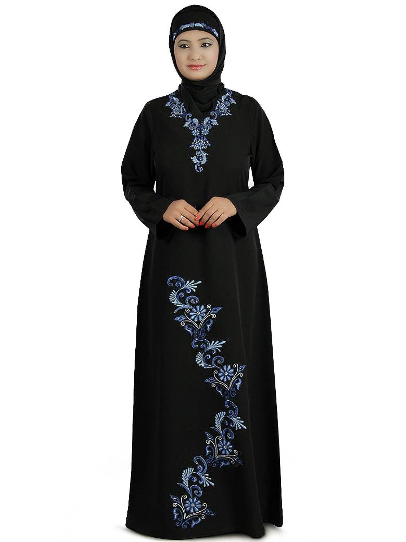 MyBatua Women's Designer Beautiful Embroidered Aatifa Abaya in Black