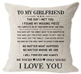 """1. Blessing to My Girlfriend Be Yours and Only Yours I Love You Valentine's Day Birthday Gift Cotton Linen Square Throw Waist Pillow Case Decorative Cushion Cover Pillowcase Sofa 18""""x 18"""""""