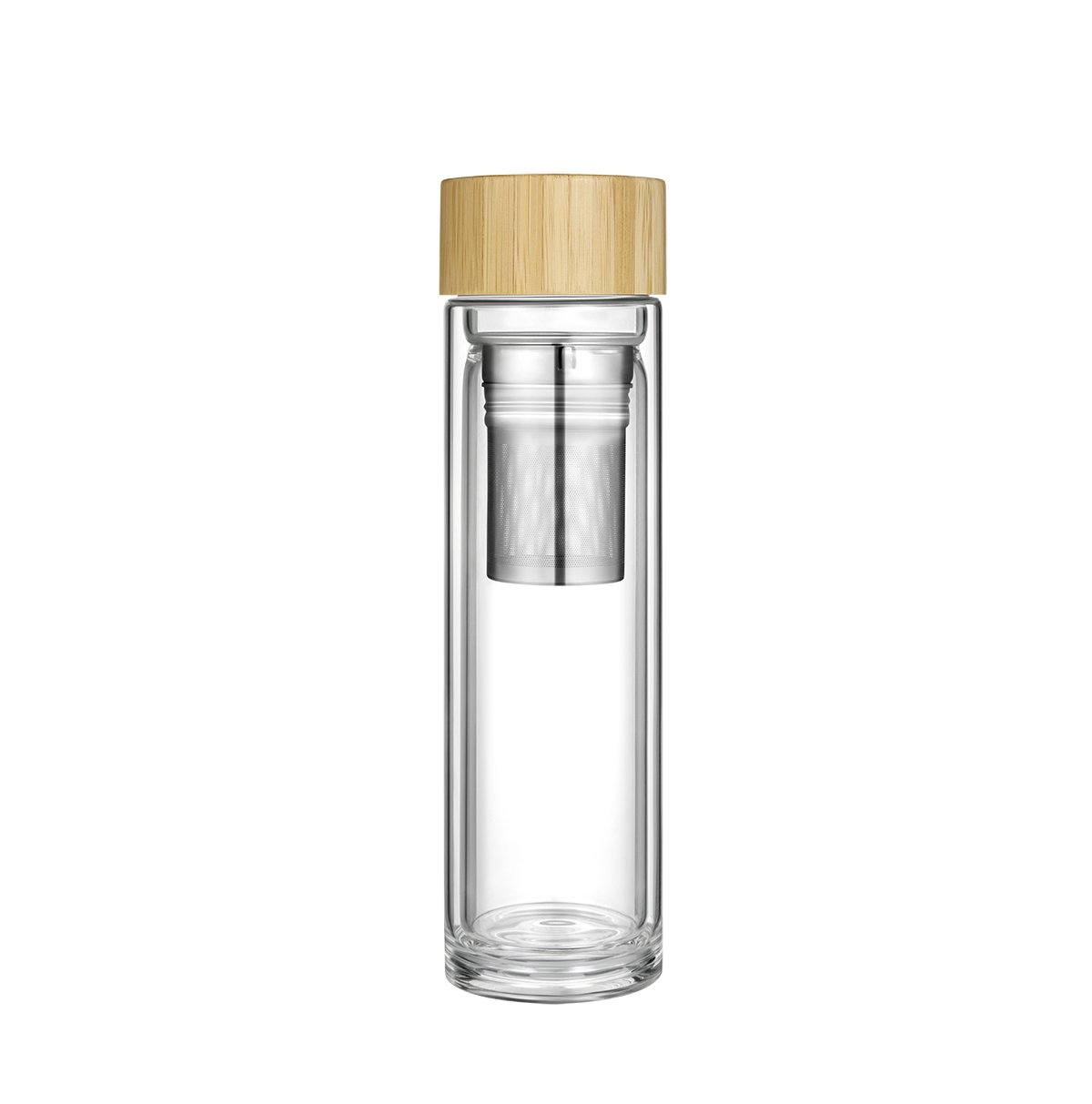 Botella T/é Cristal Agua Vidrio Infusi/ón Tetera Infusi/ón T/é Tapa Bamb/ú Sin Bpa Teteras /Émbolo Infusor Infusiones T/é Caf/é Frutas Filtro T/é Colador Tea Bottle Maker Infuser Taza Viajera 0.4L