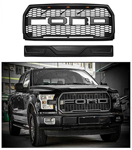 Raptor Style Grille For 2015-2017 Ford F-150 Front Grill Matte Black XL,  XLT, Lariat, King Ranch, Platinum, Limited W/F,R,Evil eyes Style Detachable