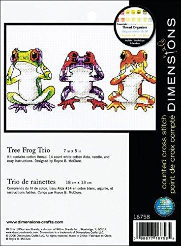 Dimensions Jiffy Treefrog Trio Mini Counted Cross Stitch Kit: 7x5